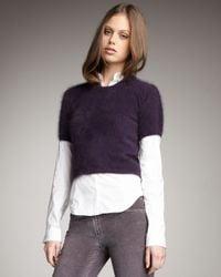 Theory - Purple Fuzzy Short-sleeve Sweater - Lyst