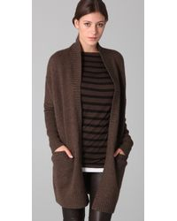 Vince - Brown Fur Collar Cardigan - Lyst