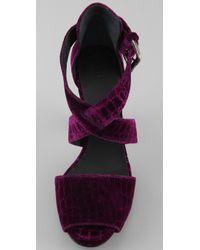 INTROPIA - Purple Velvet Crisscross Platform Sandals - Lyst