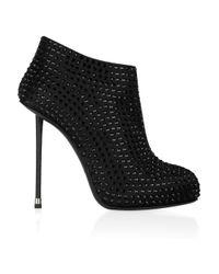 Giuseppe Zanotti | Black Crystal-embellished Satin Ankle Boots | Lyst