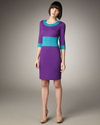 Bigio Collection - Blue Three-quarter Sleeve Colorblock Dress - Lyst