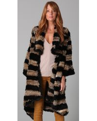Elizabeth and James | Black Salma Rabbit Fur Coat | Lyst