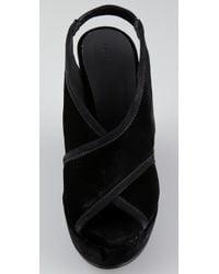 INTROPIA - Black Velvet Wedge Sandals - Lyst