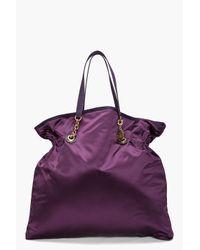 Lanvin - Purple Satin Tote - Lyst