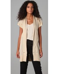 Mcq Short Sleeve Long Tux Cardigan in Natural | Lyst
