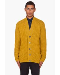 Paul Smith | Yellow Waffle Knit Merino Wool Cardigan for Men | Lyst