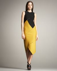Proenza Schouler | Yellow Colorblock Spiral Dress | Lyst