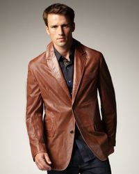 Robert Graham - Brown Leather Jacket for Men - Lyst