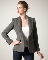 Smythe - Gray Structured Flannel Blazer - Lyst