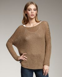 Vince | Chunky Knit Sweater, Brown Sugar | Lyst