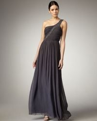 Aidan Mattox | Metallic One-shoulder Beaded Gown | Lyst