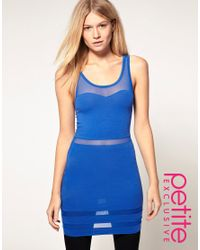 ASOS Collection - Blue Asos Petite Exclusive Bodycon Dress with Mesh Insert - Lyst