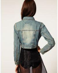 Cheap Monday - Blue Crop Denim Jacket - Lyst