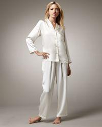 Neiman Marcus | White Classic Silk Pajamas, Ivory | Lyst