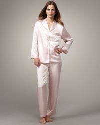 Neiman Marcus Classic Silk Pajamas, Light Pink