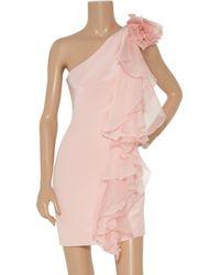 Notte by Marchesa - Pink Ruffled One-shoulder Silk Dress - Lyst