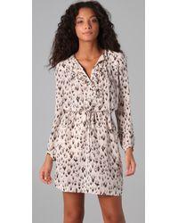 Rebecca Taylor - Natural Leopard Print Ruffle Dress - Lyst
