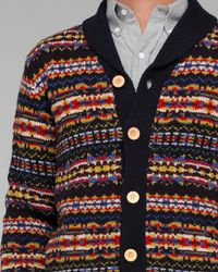 YMC | Blue Patterned Cardigan for Men | Lyst
