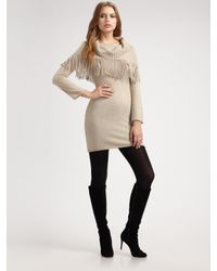 Alice + Olivia | Natural Fifi Knit Tunic with Scarf | Lyst