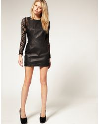 ASOS Collection - Black Asos Petite Exclusive Leather Dress with Lace Insert Sleeves - Lyst
