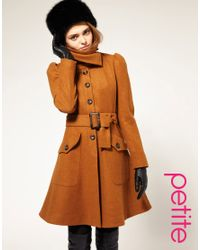 ASOS Collection | Brown Asos Fit and Flare Coat with Belt | Lyst