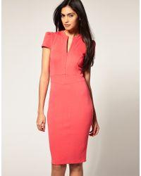 ASOS Collection | Pink Asos Ponti Pencil Dress with Zip Detail | Lyst