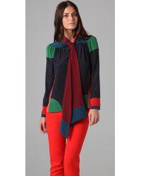 Jill Stuart | Multicolor Lili Tie Neck Blouse | Lyst