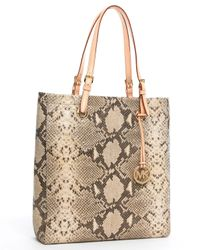 MICHAEL Michael Kors - Multicolor Jet Set Pythonembossed Large Item Tote Angora - Lyst