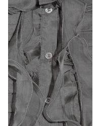 Oscar de la Renta - Gray Ruffled Silk-organza Blouse - Lyst