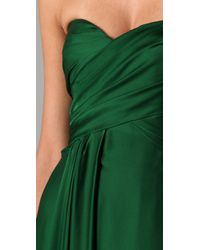 Reem Acra - Green Strapless Ruched Gown - Lyst