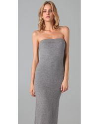 T By Alexander Wang - Gray Strapless Knit Tube Dress - Lyst