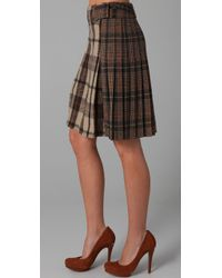 Tory Burch | Brown Lula Plaid A-line Skirt | Lyst