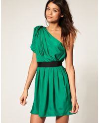 ASOS Collection | Green Asos One Shoulder Drape Dress with Pleats To Skirt | Lyst