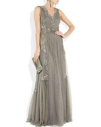 Alberta Ferretti - Gray Embroidered Tulle Gown - Lyst