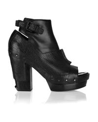 Alexander Wang - Black Claudia Cutout Leather Ankle Boots - Lyst
