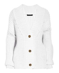 Alexander Wang - White Chunky-knit Cotton-blend Cardigan - Lyst