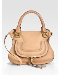 Chloé | Pink Marcie Medium Satchel Bag with Strap | Lyst