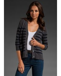 DEMYLEE | Gray Chase Striped Cashmere Cardigan in Steel Grey/navy | Lyst