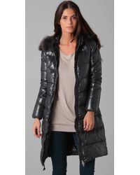 Duvetica | Gray Alia Coat with Fur Trim | Lyst