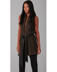 Elizabeth and James | Brown Shawl Collar Vest | Lyst