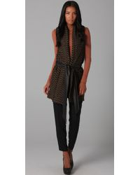 Elizabeth and James - Brown Shawl Collar Vest - Lyst