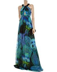 Matthew Williamson - Blue Lotus-print Silk-chiffon Maxi Dress - Lyst