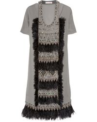 Matthew Williamson | Gray Appliquéd Wool-crepe Dress | Lyst