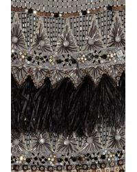 Matthew Williamson - Gray Appliquéd Wool-crepe Dress - Lyst
