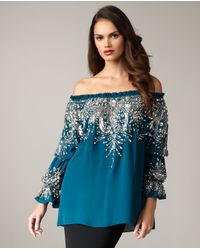 Naeem Khan | Blue Off-the-shoulder Beaded Blouse | Lyst