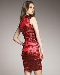 Nicole Miller Red Techno-metal Cocktail Dress