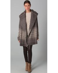 VINCE | Gray Sophie Variegated Stripe Sweater Coat | Lyst