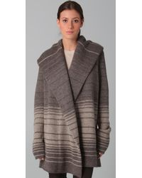 Vince - Gray Sophie Variegated Stripe Sweater Coat - Lyst
