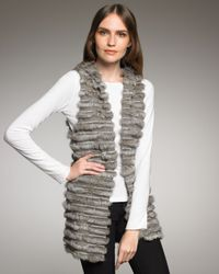 Alice + Olivia - Gray Hooded Fur Vest - Lyst
