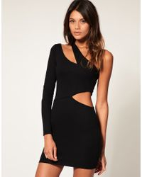 ASOS Collection - Black Asos Bodycon Dress with One Sleeve - Lyst